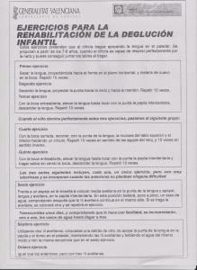 Ejercicios para la rehabilitacion de la deglucióninfantil