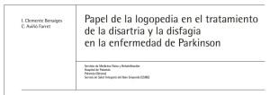 Papel de la logopedia en el tratamiento de la disartria y la disfagia en la enfermedad deParkinson